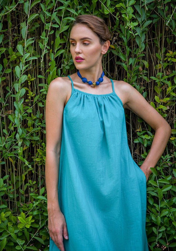Turquoise Calf Length Cotton Dress with Spaghetti Straps