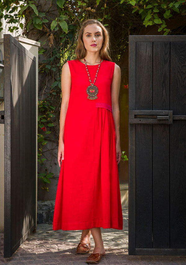 Red Sleeveless Cotton Dress with Gathers