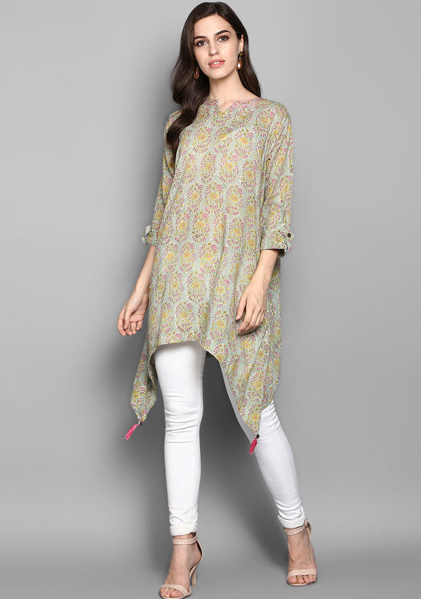 Green Pink Asymmetric Cotton Tunic with Side Tails and Tassels