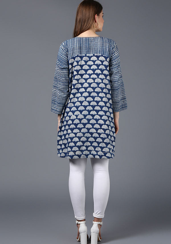 Indigo Ivory Hand Block Printed Cotton Tunic with Yoke and High Low Detail