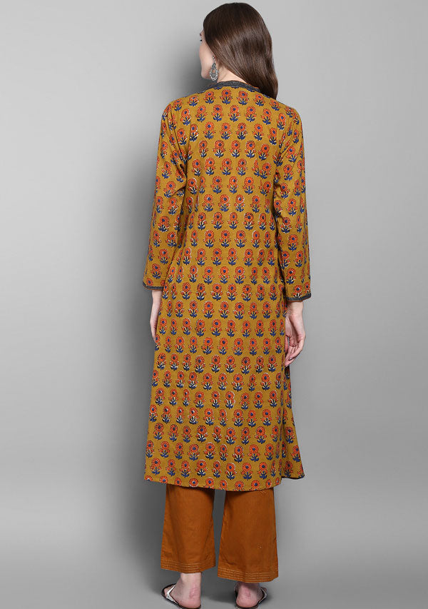 Mustard Orange Flower Motif Hand Block Printed Kurta with Pants