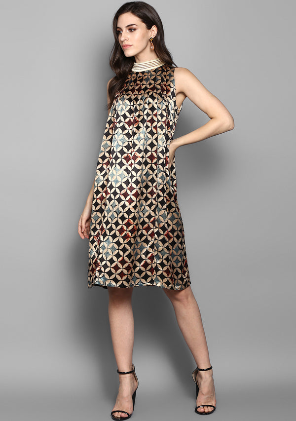Black Maroon Printed Mushru Sleeveless  Luxury Dress