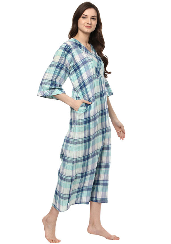 Turquoise Blue Checked Cotton Hangout Kaftan With Short Zip Detail