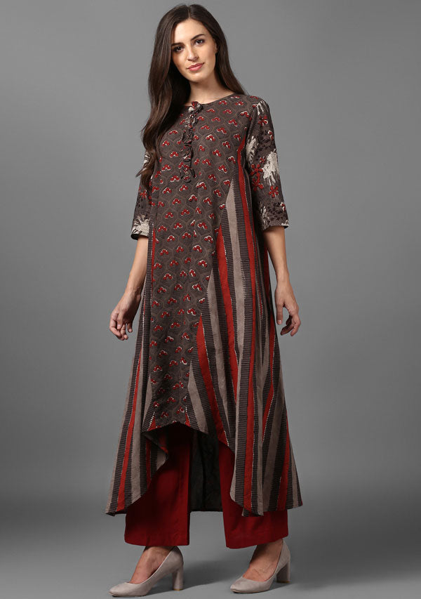 ADAA Brown Red Hand Block Printed Asymmetric Cotton Kurta Paired with Pants