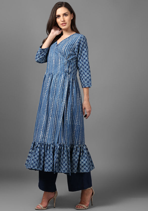 ADAA Indigo Silver Hand Block Printed Cotton Wrap Kurta with Pants