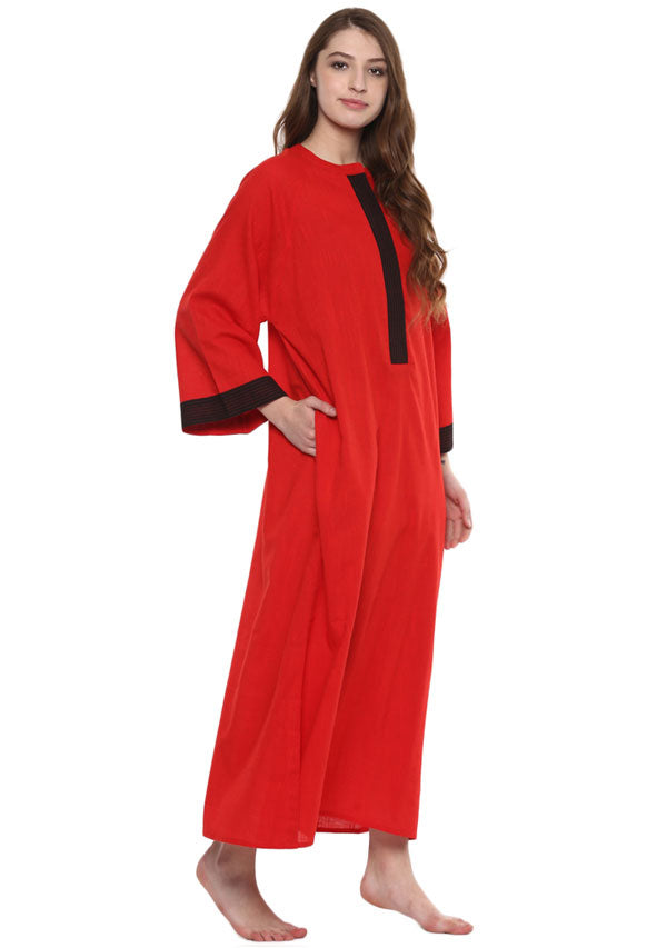 Red Black Bell Sleeves Cotton Night Dress Long Sleeves and Zip Detail