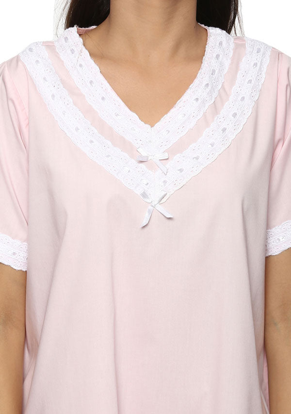 Short Sleeved V- Neck Pink  Cotton Nighty with Lace Trimmings