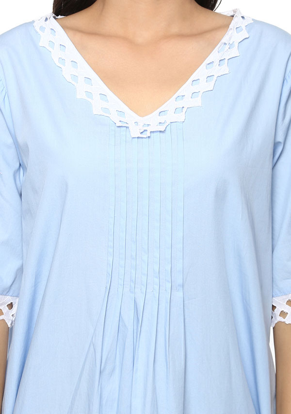 Short Sleeved V- Neck Blue Cotton Nighty with Lace Trimmings