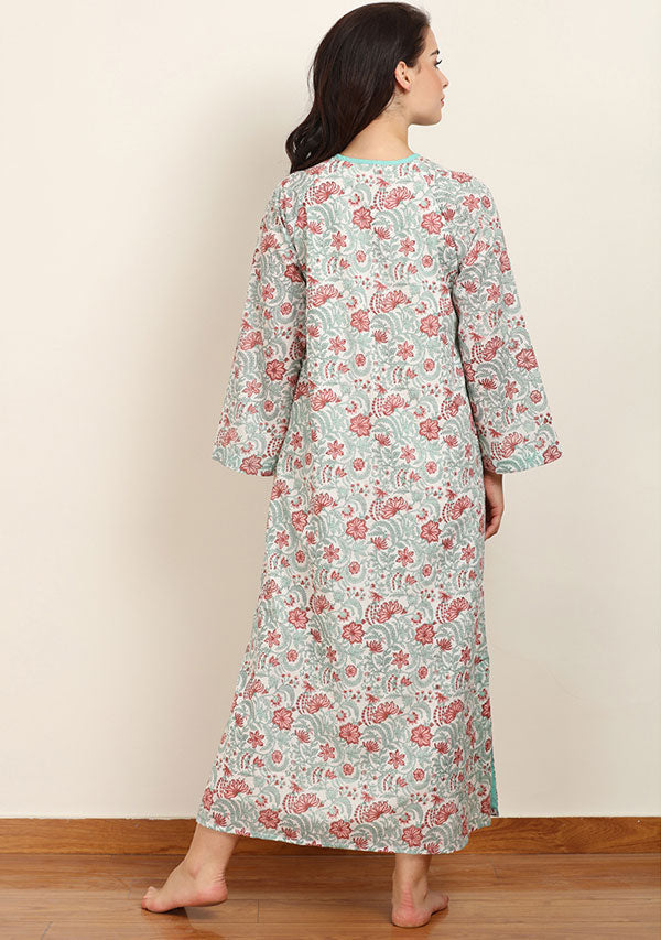 Turquoise Peach Floral Hand Block Printed Cotton Night Dress Long Sleeves and Zip Detail