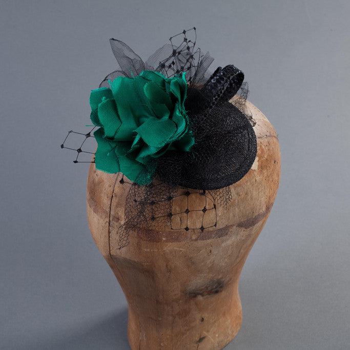 Black Cocktail Hat: Accented Handmade Silk Fower