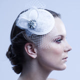 The Estelle Bridal Cocktail Hat- Fascinator by Love Charlie featuring Stunning Handmade Daniel Pollack Crystal Brooch