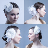 The Evelyn Silk Feathered Flower Headpiece/Brooch by Love Charlie