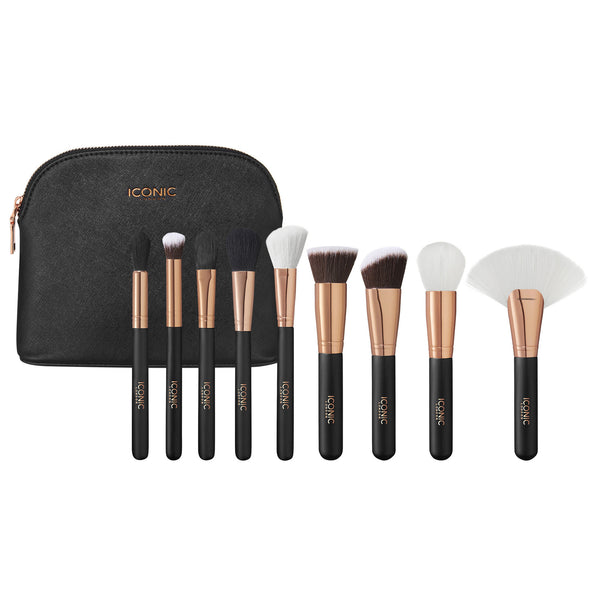 Black and Rose Gold Complete Face Makeup Brush Set