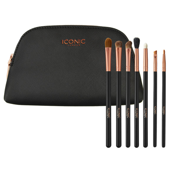BLACK AND ROSE GOLD EYE BRUSH SET