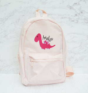 Pink Personalised Children's Dinosaur Backpack