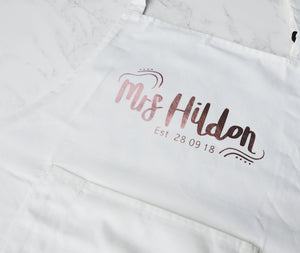 Personalised wedding apron, brides apron, grooms apron, white wedding, custom mr and mrs apron, bridal shower gift, husband and wife gift - You Make My Dreams