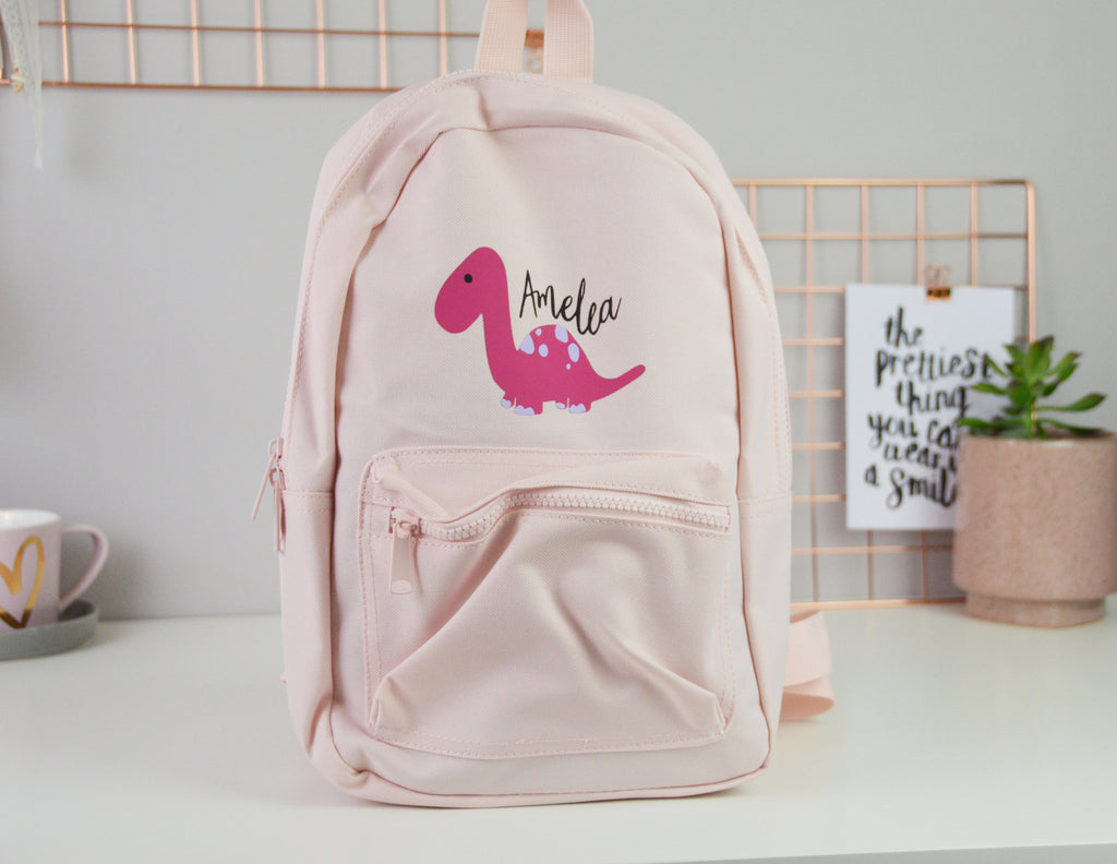 Pink Personalised Children's Dinosaur Backpack - You Make My Dreams