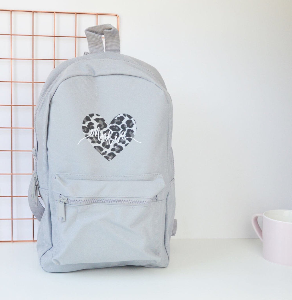 Grey Personalised Children's Leopard Heart Backpack - You Make My Dreams