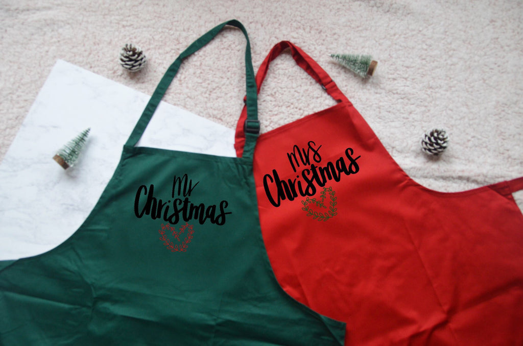 Mr & Mrs Christmas Aprons - You Make My Dreams