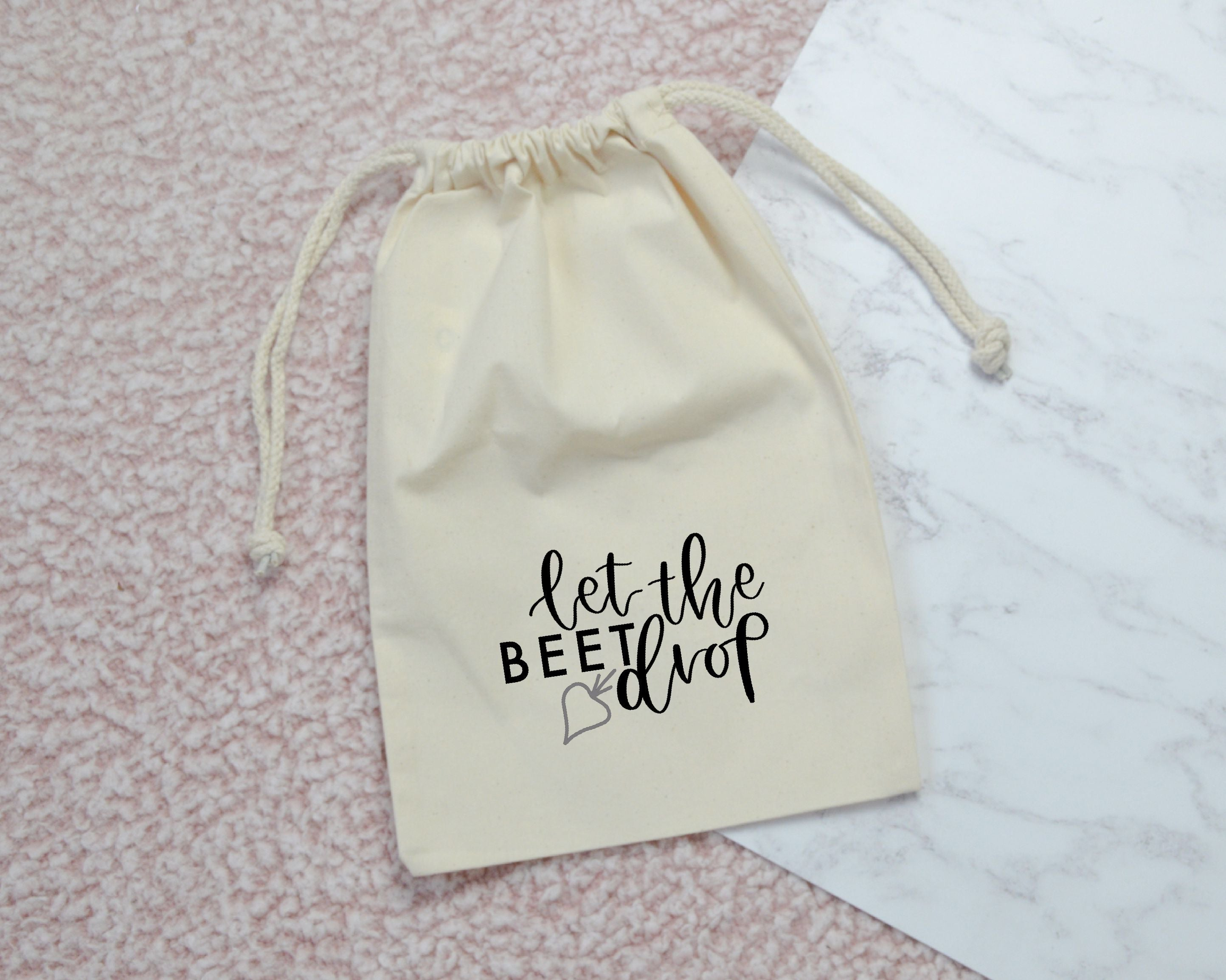 Let the Beet Drop Drawstring Veg Bag - You Make My Dreams