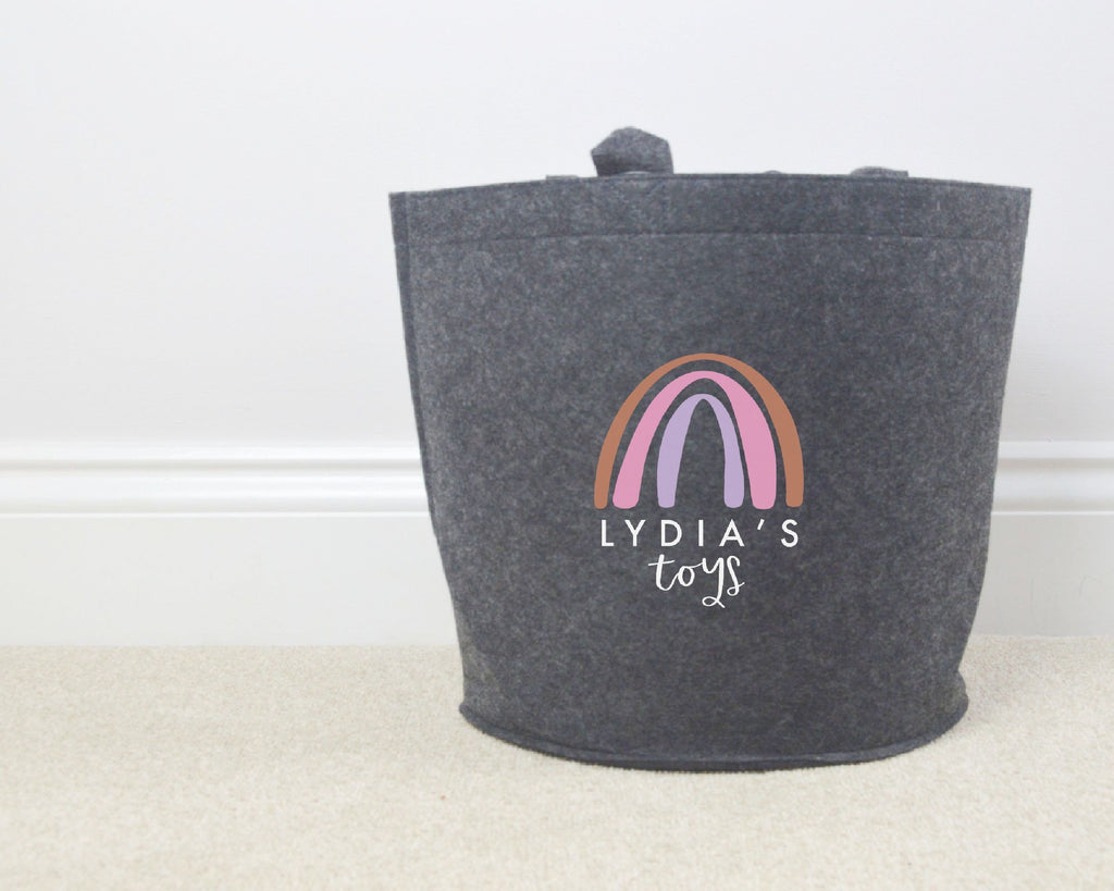 Personalised Rainbow Toy Basket