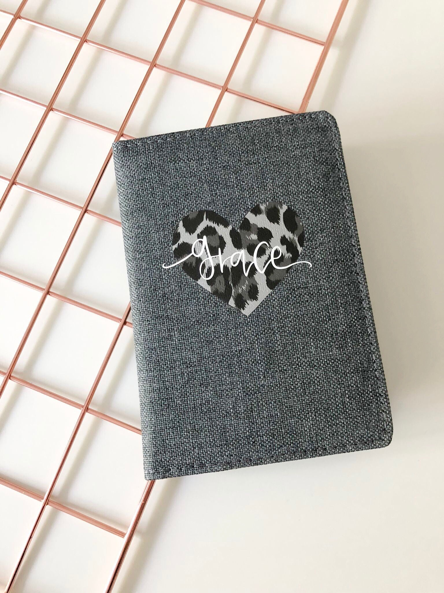 Personalised Leopard Heart Passport Cover - You Make My Dreams
