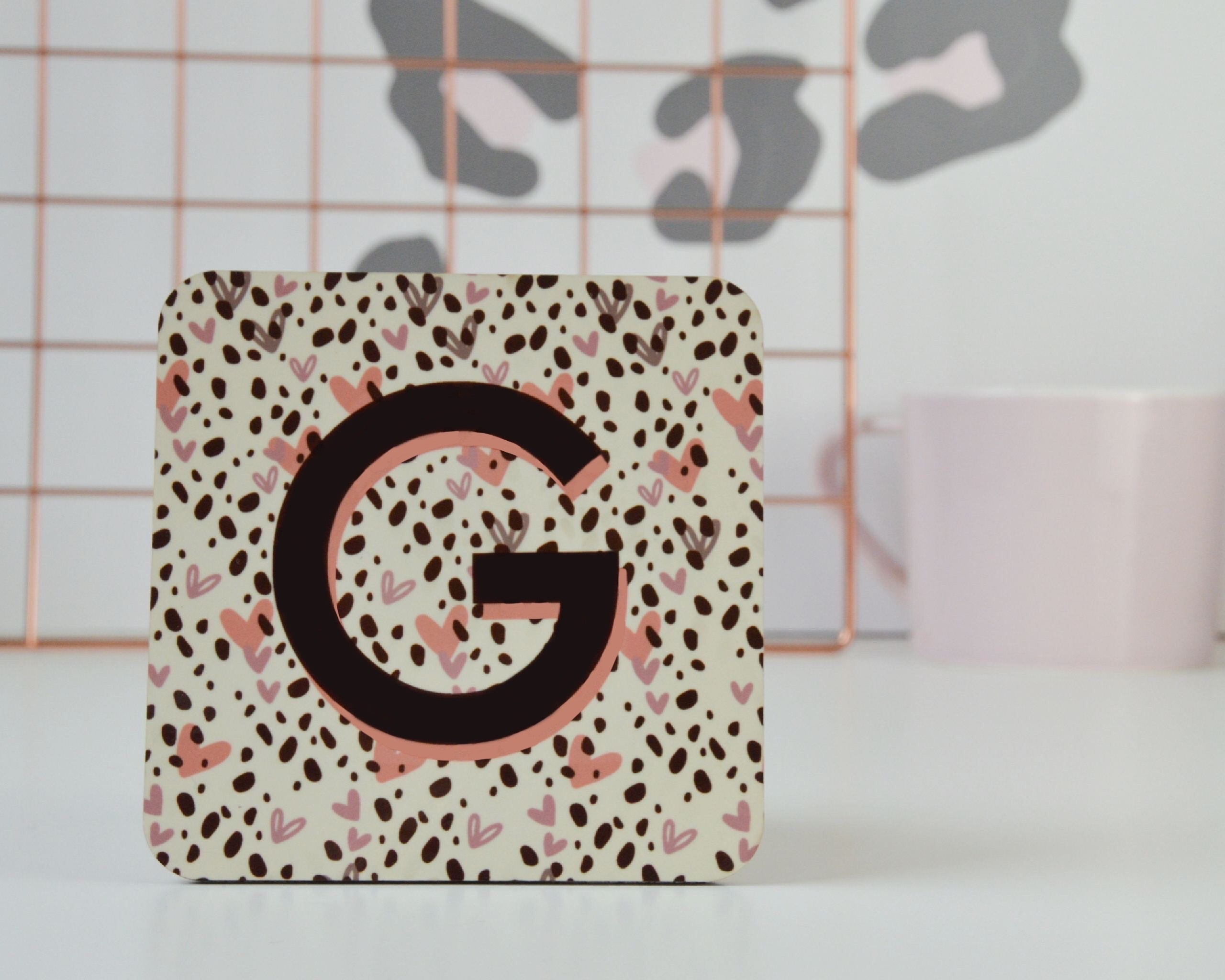 Personalised Dalmatian Spot Initial Coaster - You Make My Dreams