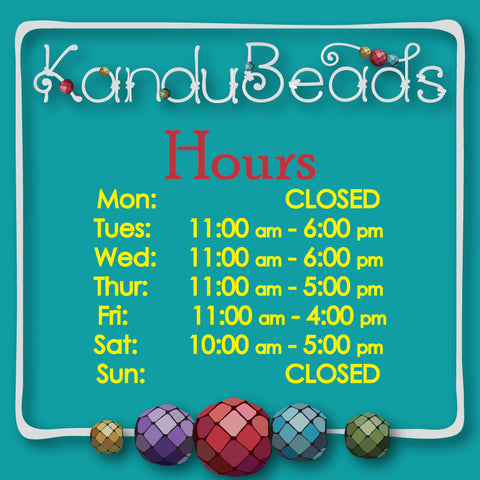 KanduBeads Cheshire Bead Store and Gift Gallery Hours of Operation