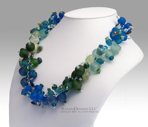 Aqua Necklace - Ombre, Blues Greens, Recycled African Glass Trade Beads, Gemstone