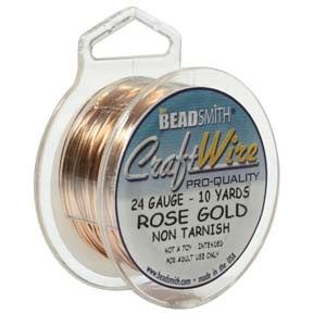 10YD SPOOL ROSE GOLD CRAFT WIRE 24GA ROUND