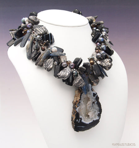 Black and White In Color with Geode Necklace, Made To Order