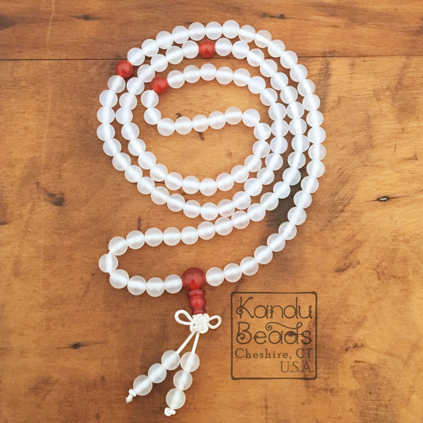 Milk Quartz Round 6mm Mala Prayer Beads