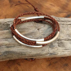 Learn to make braided leather bracelets and necklaces for men or women this summer
