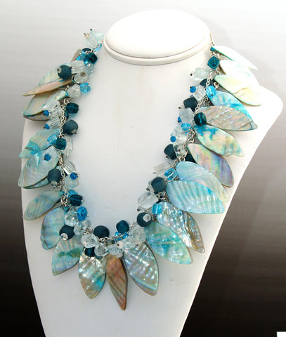 Ice Lei Necklace, Sterling Silver, Abalone Shell, Aquamarine, Topaz, Quartz,