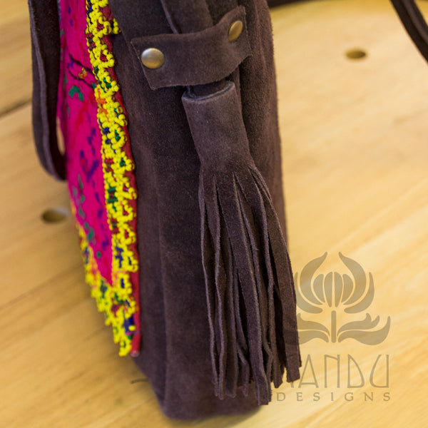 Recycled Banjara Cloth Leather Purse w/ Slide Strap, Adjustable Strap Recycled Materials, Handmade Purses, Bag, Banjara Purse, messenger bag