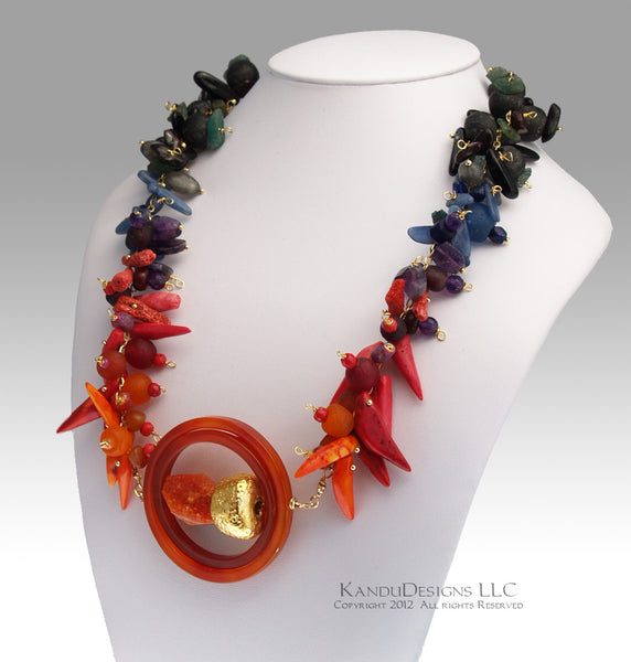 Solar Flare Necklace Ombre - Recycled African Glass, Coral, Kyanite,