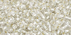 Round 11/0  Toho Glass Seed Bead Silver-Lined Crystal