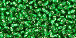 Round 11/0  Toho Glass Seed Bead Silver-Lined Grass Green