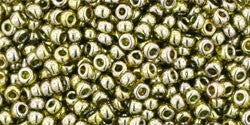 Round 11/0  Toho Glass Seed Bead Gold-Lustered Green Tea