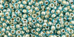 Round 11/0  Toho Glass Seed Bead Gold-Lined Aqua