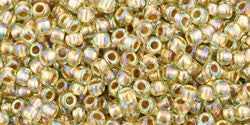 Round 11/0  Toho Glass Seed Bead Gold-Lined Rainbow Lt Jonqu