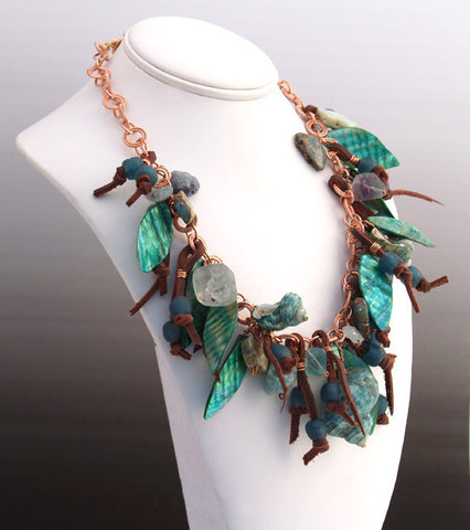 Forest Glen Necklace, Copper Chain, Shells, Leather, Variscite, Fluorite, Glass, Aquamarine