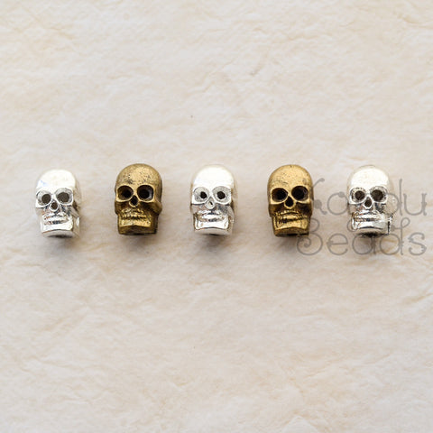 Nigerian Brass Skull Beads Style, 14x9x9mm One Bead, Brass or Bright Antique Silver Color