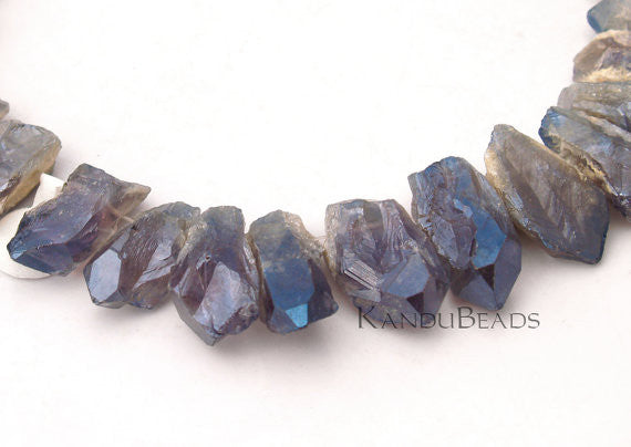 Mist Blue Amethyst Crystal Point Beads , AB Mystic Titanium Coated  25-35mm Top Drilled 15 inch strand