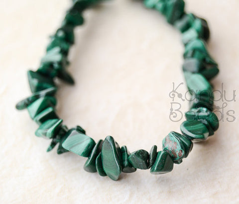 "Natural Malachite Chip Beads 5-8mm 36"" strand"