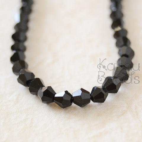 Crystal Black Glass Bicone Bi Cone Beads 4mm 19""