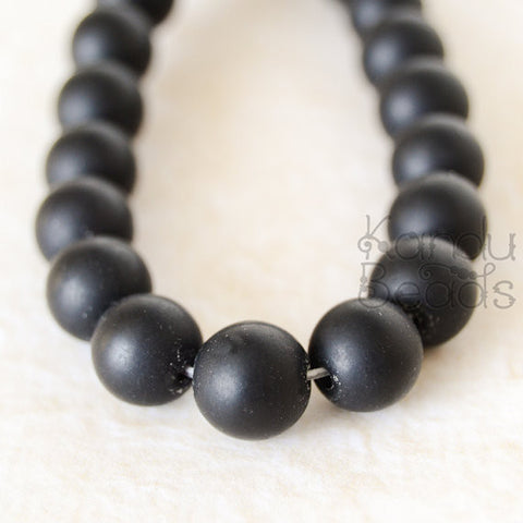 Matte Black Glass Smooth Round Beads CHOOSE SIZE 6mm or 8mm 15""