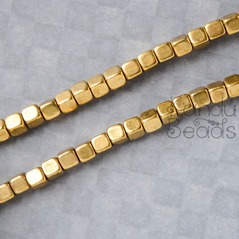 Solid Brass 5x5mm Square Cube beads CHOOSE QUANTITY