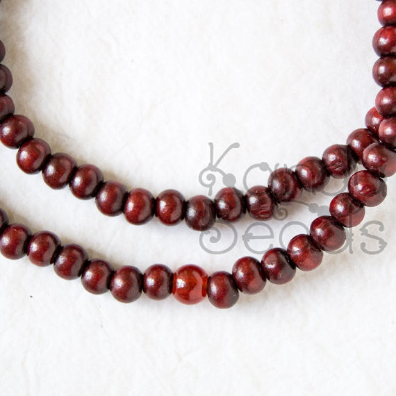 "Red Sandalwood Prayer Beads 5x6 mm 24"" 108 mala strand"