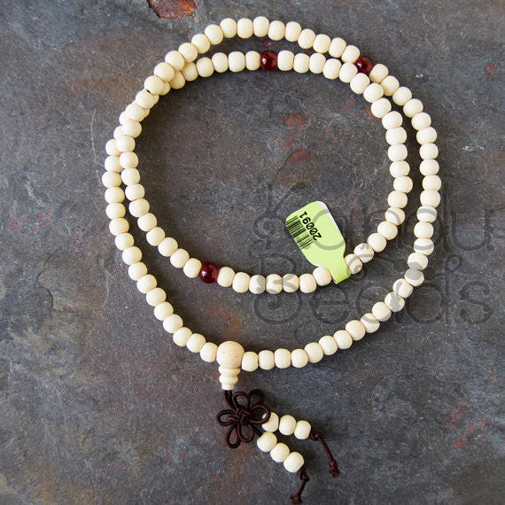 "Sandalwood Prayer Beads 5x6 mm 24"" 108 mala strand"